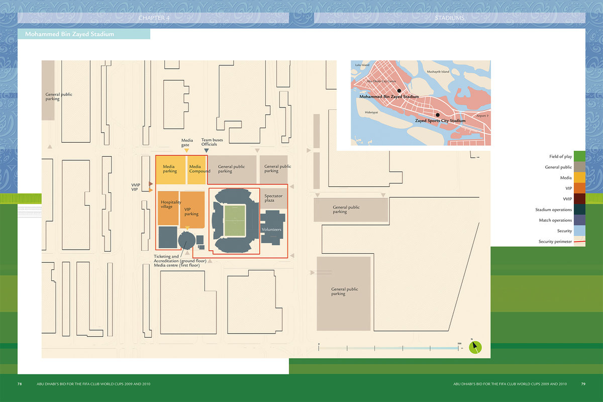 funktional planning Mohammed Bin Zayed Stadion (levels 0 and 1)