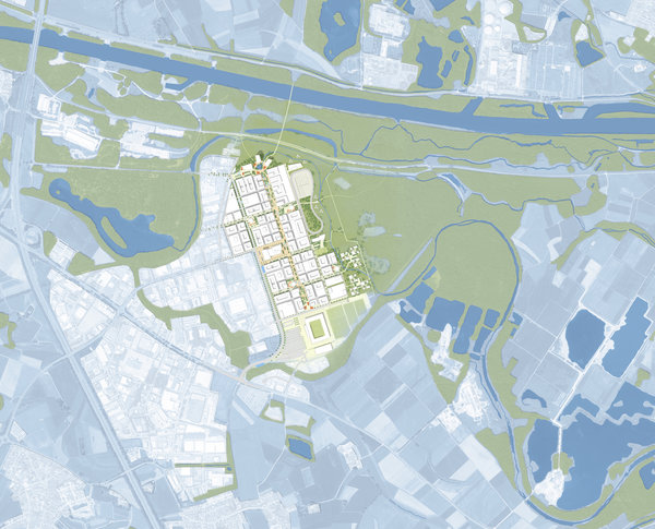 campus master plan with river Danube in the North and wetlands in the East